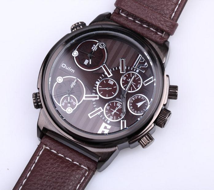 Oulm Brand Mens Luxury Leather Band Quartz Watch 3 Time Zone Fashion Business Casual Wristwatches With Gift Box Relogio Releges oulm brand mens leather band japan movt quartz watch dual time zone fashion hit color wristwatches with gift box relogio releges