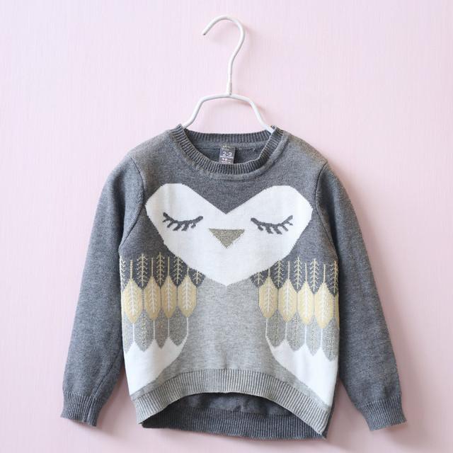 Y1903045 Retail 2016 Otoño Niña Suéter de Las Niñas pequeñas de Color Gris Dobby Búho Gris Jersey de Punto Ropa de Niña Lolita
