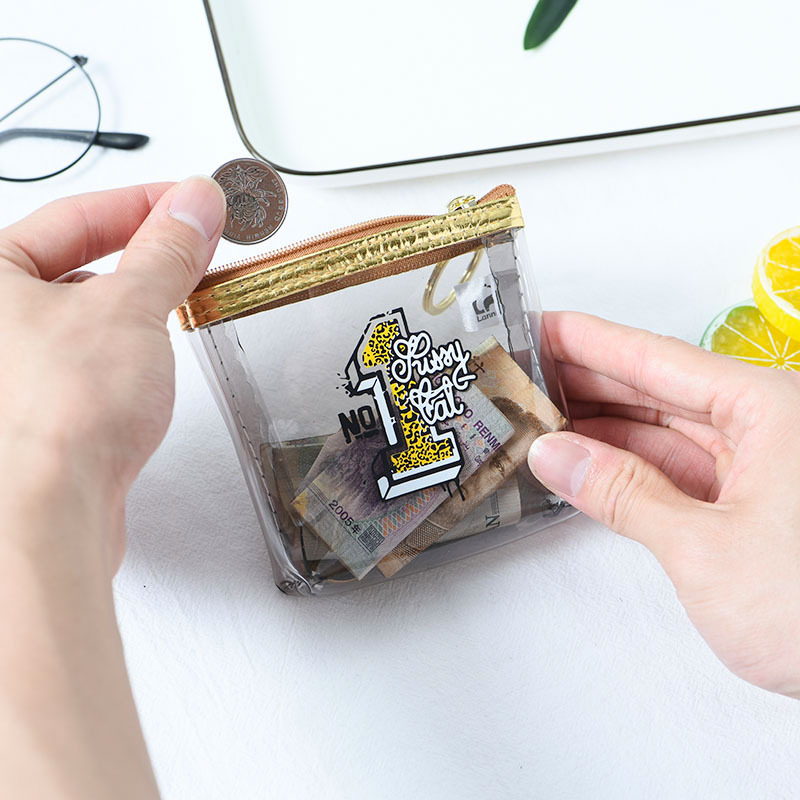 XZP 2019 Transparent Leopard Letter Small Coin Purse Mini Square Wallet Bag Zipper Coin Pouch Purses Holder Women Coin Wallets in Coin Purses from Luggage Bags