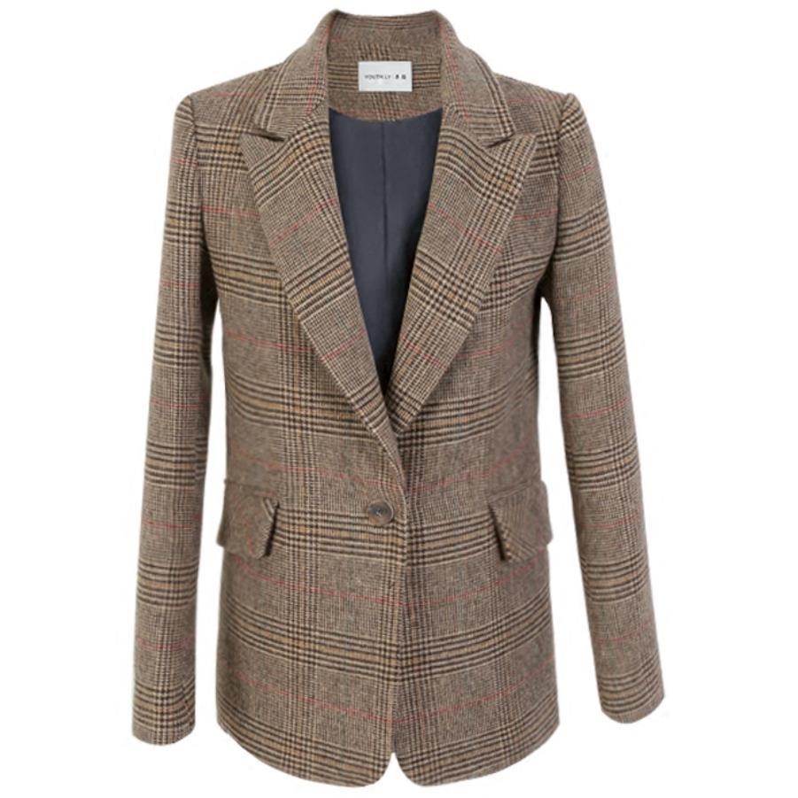 Plus Size 2XL Plaid Wool Suit Female Autumn Winter New Feminino Retro Plaid Suit Jacket Straight Casual Woolen Slim Blaze