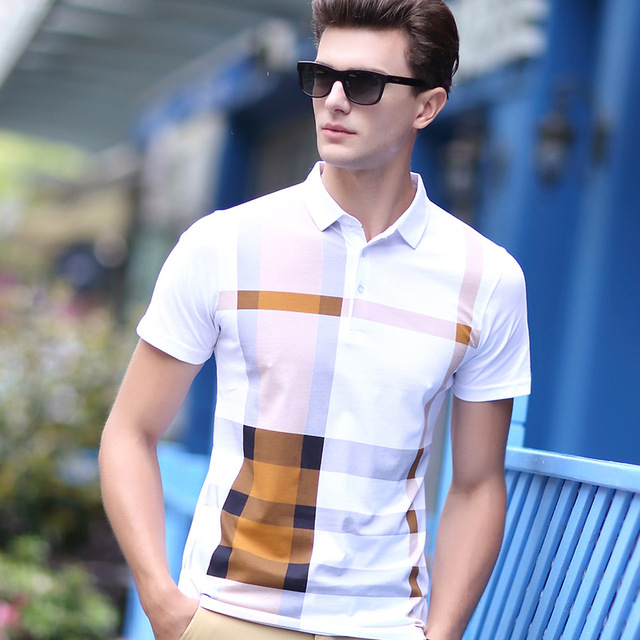 955668e4a90e Men Polo Shirt Hot Sale New plaid 2017 Summer Fashion classic casual tops  Short Sleeves Famous Brand Cotton High quality