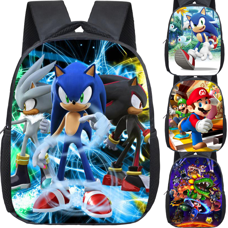 Hot Sale Super Mario Bros Sonics Backpack Children Kids Bag Beautiful Printing Pattern Mario Sonic Kindergarten Bag