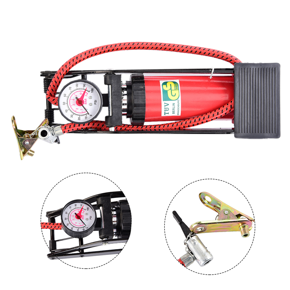 Air Inflatable Pump Portable High Pressure Tire Foot Inflator with Gauge for Car Vehicle ...