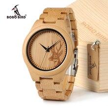 BOBOBIRD D28 Natuurlijke Bamboe Hout Horloges Met Herten Hoofd Graveren Wijzerplaat Met Bamboe Riem Voor Gift