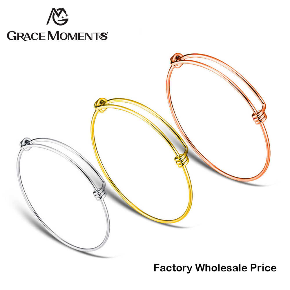 10pcs/lot Grace Moments Bracelet & Bangle 100% Stainless Steel Cuff Bracelets Women Fashion Jewelry Wire Cable Bangle Adjustable