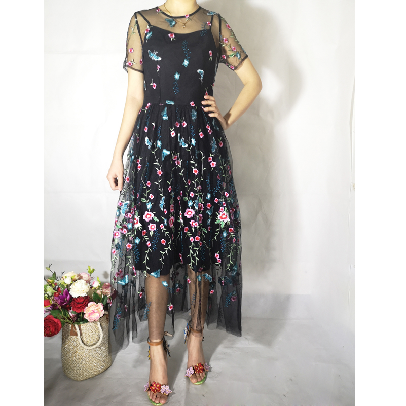High quality 2019 new designer fashion summer dresses woman party mesh flower embroidered vintage Bohemian beach
