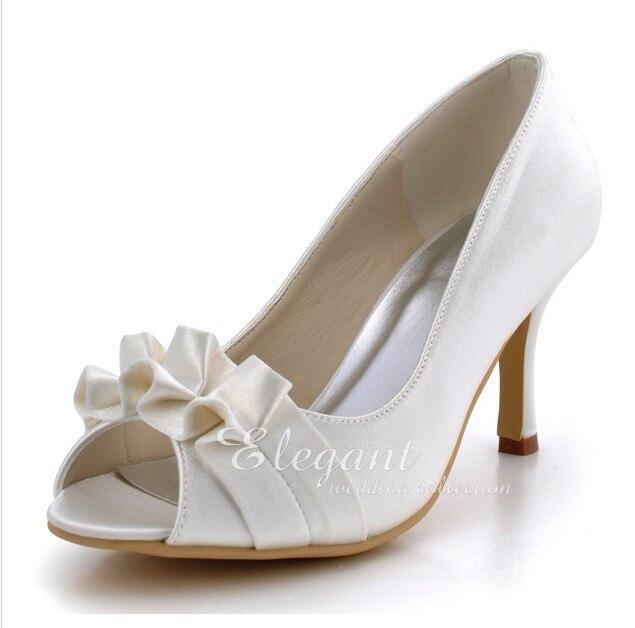 Luxury Satin Flower White Wedding Dress Shoes Bridal Shoes Peep Toe High Heel Banquet Shoes Woman Formal Dress Shoes 2016 purple color elegant pointed toe wedding dress shoes satin bridal dress shoes party lady woman shoes formal shoes