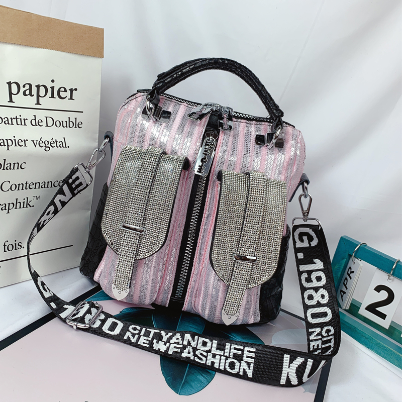 Women Crystal Shoulder Bags Sequins Pink Silver Luxury Totes Stripes Women Zipper Leather Punk Handbags Ladies Crossbody BagsWomen Crystal Shoulder Bags Sequins Pink Silver Luxury Totes Stripes Women Zipper Leather Punk Handbags Ladies Crossbody Bags