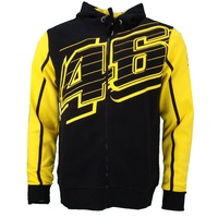 NEW 2018 Fashion VR46 Valentino Rossi Dual For Yamaha Cotton Fleece Zip Up Hoody Hoodie Blue