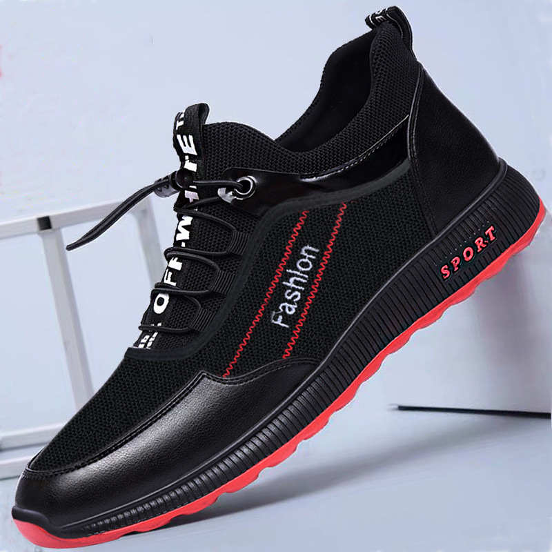 2019 Summer Men's Shoes Sports Shoes Men's Casual Shoes Trending Black White Shoes EVA Waterproof Lace-up Shoes(China)