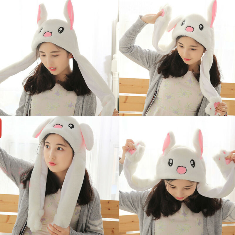 Fashion Bunny Rabbit Ear Plush Hat Moving Hat Sweet Kids Girlfriend Able Toy Gift Beanie Cartoon Kawaii Funny Birthday Toys