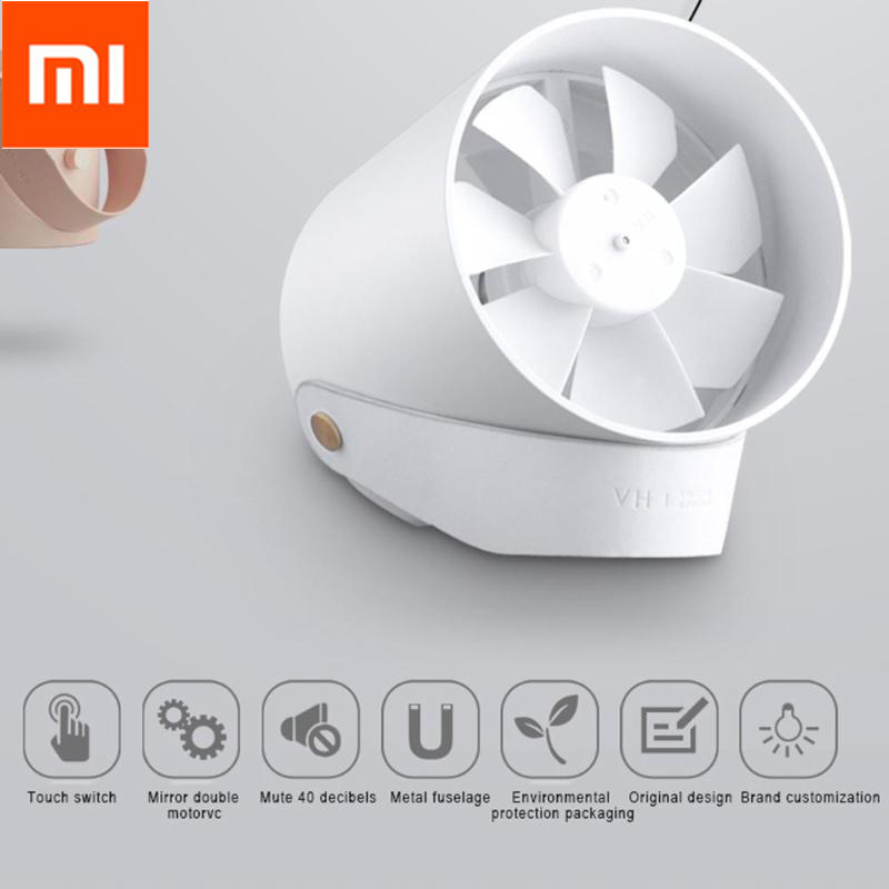 Original Xiaomi VH Mini Fan Portable Ventiladors USB Mijia Fan Ultra Quiet Smart Touch Summer Cooler Double Leaf Desktop Fan xiaomi vh fan stylish double blade mute cycle desktop silent fan low noise touch sensor switch and second gear adjustable