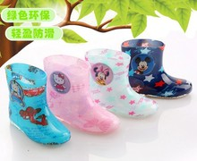 Rubber boots kids 2016 short tube male and female children s shoes cartoon car crystal rain