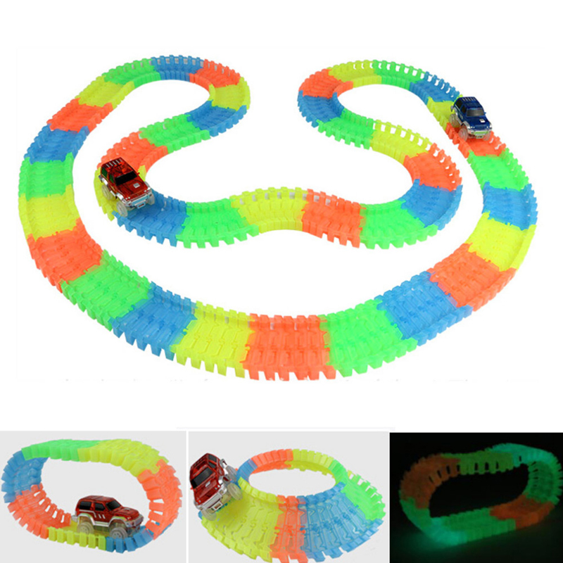 Enlighten Miraculous Glowing Race Track Bend Flex Flash in the Dark Assembly Car Toy 162/165/220/240pcs Glow Racing Track Set  280pcs miraculous race track bend flex car toy racing track set diy track electric rail car model set gift for kids