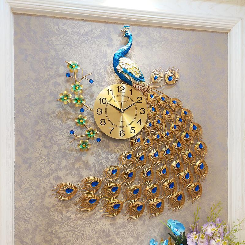 Paon Quartz horloge murale européenne moderne personnalité créative salon décoré chambre silencieuse horloge murale montre R1485