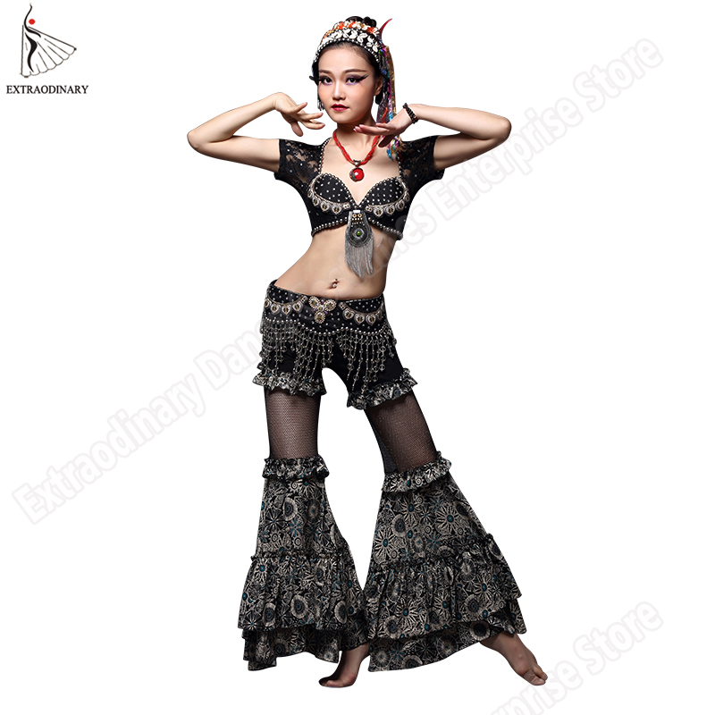 ATS Belly Dance Tribal Top Belt Pants Costumes Set Gypsy Women Stage Performance Tribal Bra Hip Scarf Bead Lace Clothes