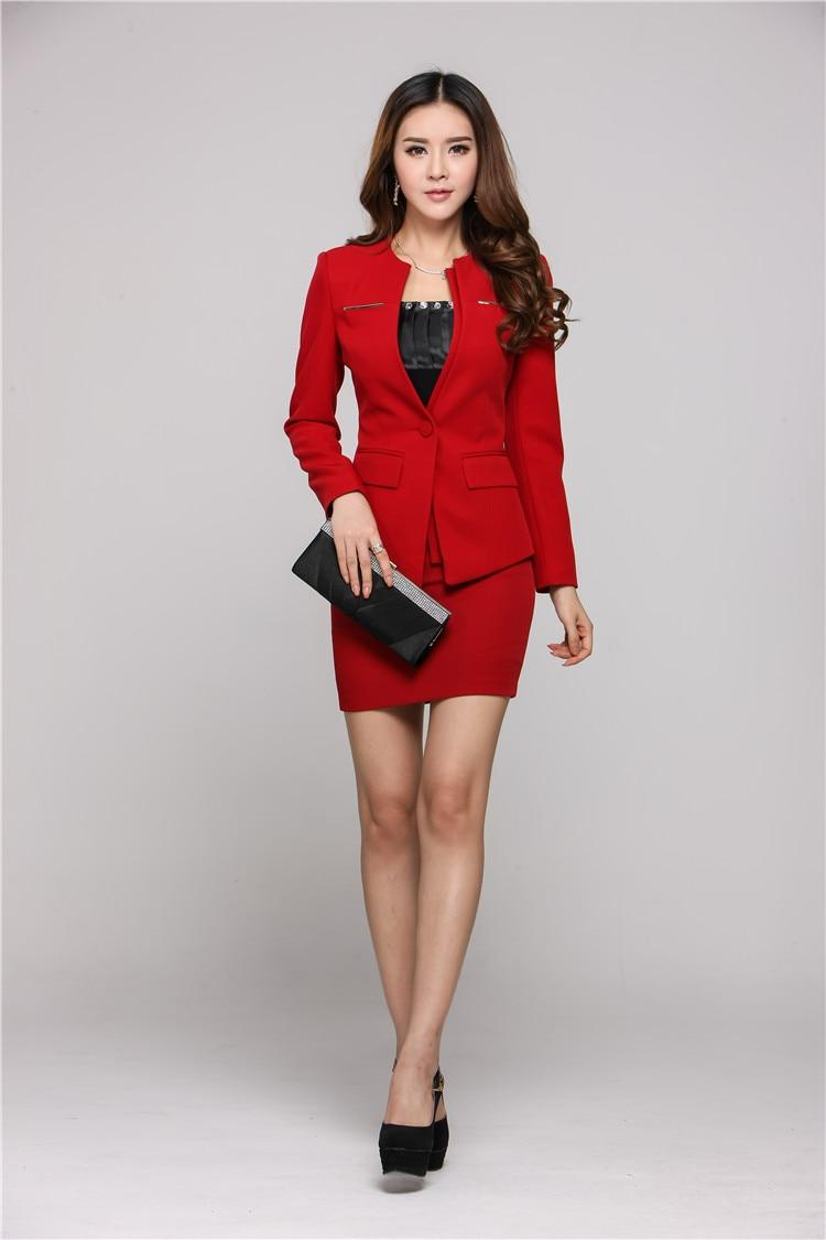 Office Work Blazers red Black New Winter Professional Suits 4xl Women Size With Wear Skirt Uniform Mini Autumn 2015 Business Plus UYYHqTw7