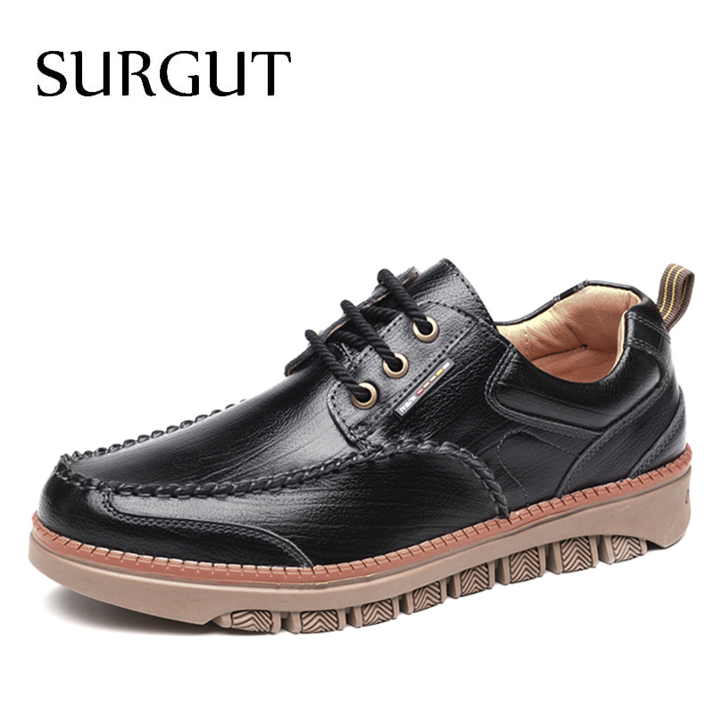 SURGUT New Spring Men Casual Shoes Luxury Genuine Leather Brand Cozy Leisure Black For Mens Top Quality Designer Shoes Men Shoes grimentin fashion 2016 high top braid men casual shoes genuine leather designer luxury brand men shoe flats for leisure business