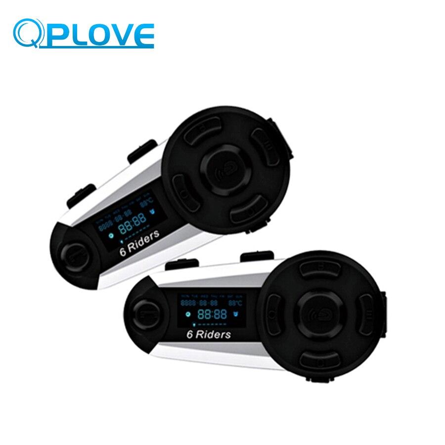 2 pièces QPLOVE T20S casque de moto interphone Bluetooth 1200 M Distance 6 cavalier étanche sans fil avec écran prend en charge la Radio FM