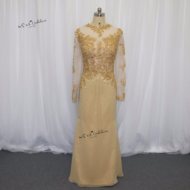 Hot Sell Long Sleeve Muslim Evening Dress Lace Beaded Champagne See ...