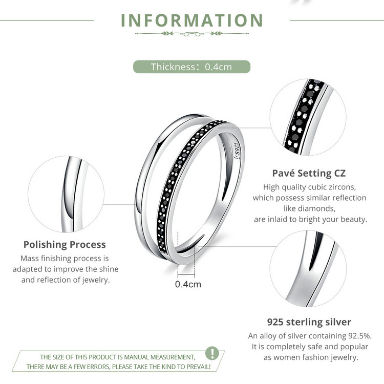 HTB1YjK8g5MnBKNjSZFzq6A qVXar BAMOER Genuine 925 Sterling Silver Double Circle Black Clear CZ Stackable Finger Ring for Women Fine Silver Jewelry Gift SCR082