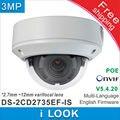 Câmera IP DS-2CD2735EF-IS Substituir de DS-2CD2735F-IS sihpping livre 2.7-12mm Lente vari-focal H.265 Câmera de 3mp PoE Day & Night CCTV