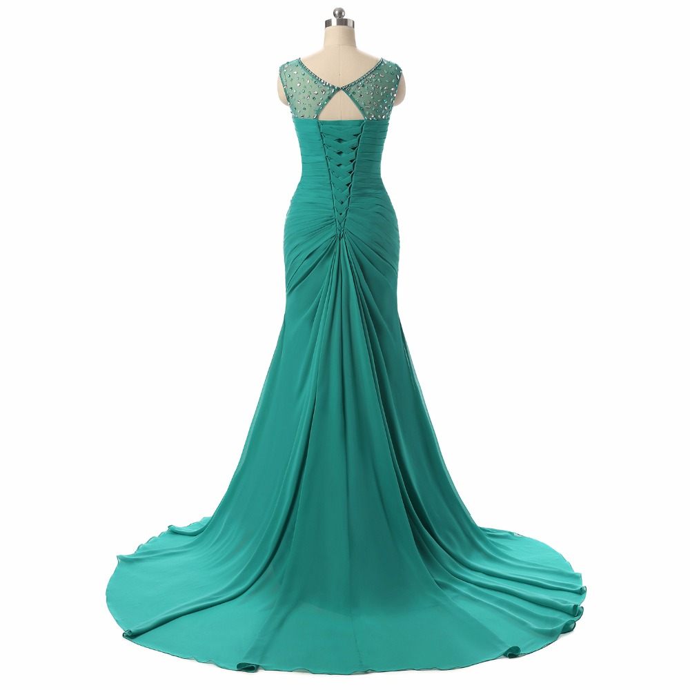Fishday Prom Dresses Sexy Long Train Emerald Green Expensive Cheap ...