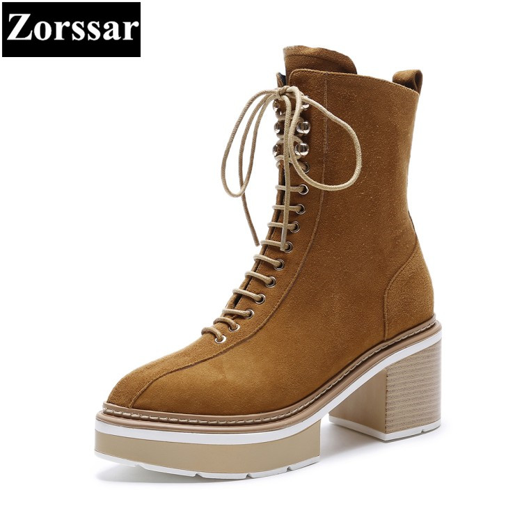 {Zorssar} 2017 NEW ladies big size shoes suede pointed Toe platform High heels ankle Motorcycle boots winter womens shoes heels egonery quality pointed toe ankle thick high heels womens boots spring autumn suede nubuck zipper ladies shoes plus size