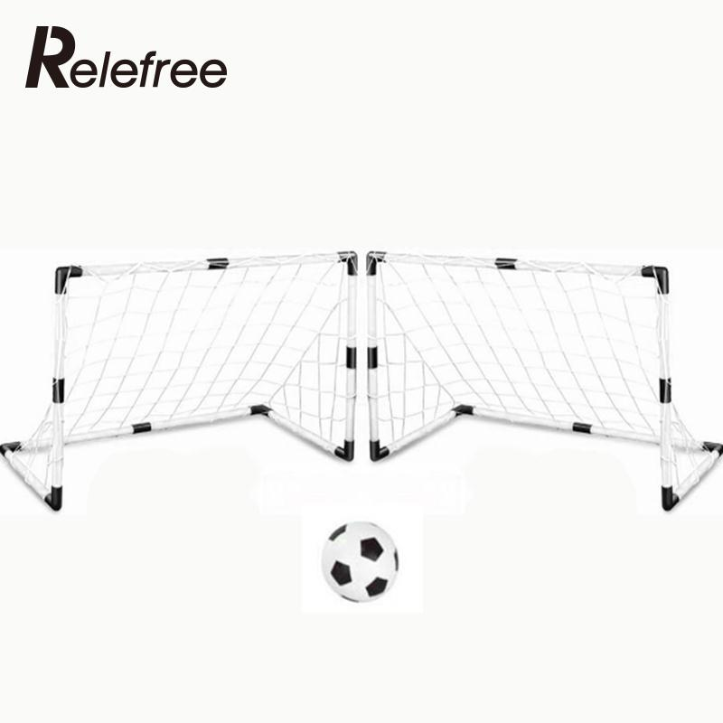 Relefree DIY Children Sports Soccer Goals Train Garden Game 2 Football Gate White W/Ball
