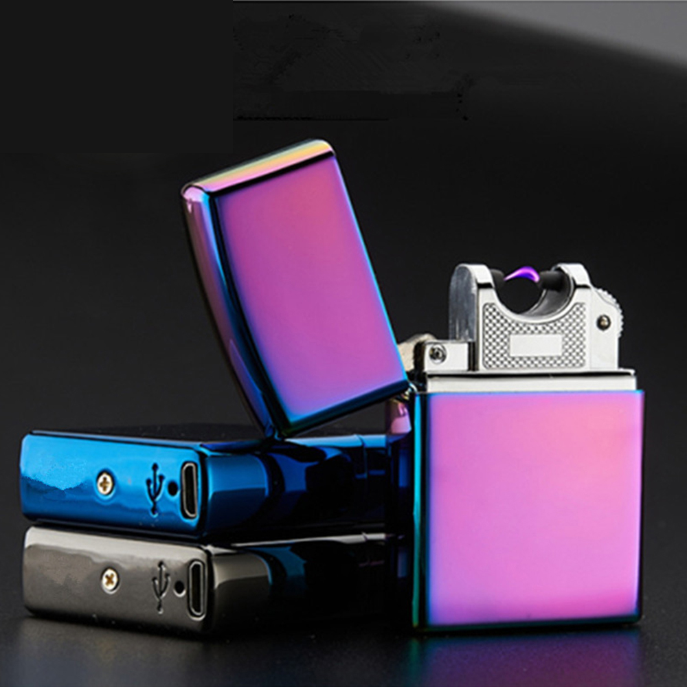 New USB Electric Double Arc Lighter Rechargeable Windproof Torch Lighter Cigarette Dual Thunder Pulse Cross Lighter Plasma