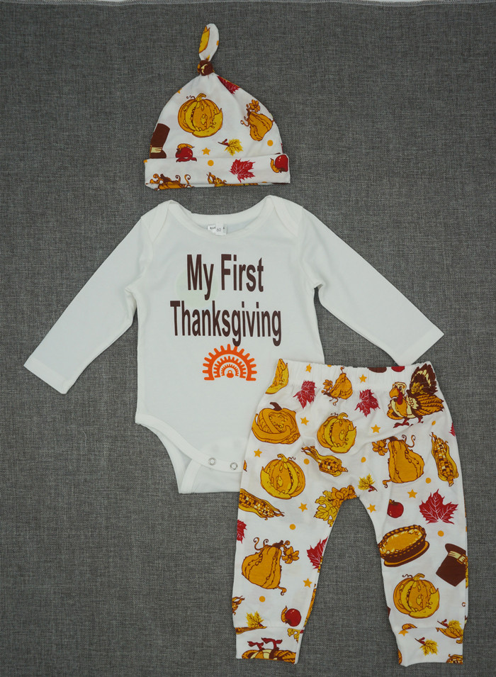 My first Thanksgiving baby boy clothing set stuff for newborns baby boy long sleeve rompers+caps+trousers baby clothes 1 year