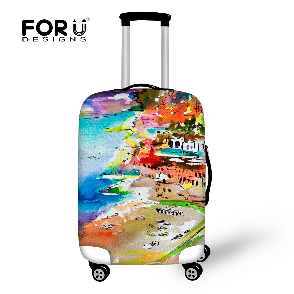 FORUDESIGNS Travel Suitcase Cover Spandex Luggage Protective Covers Apply to 18-30inch Case Painting Waterproof Dust Rain Cover