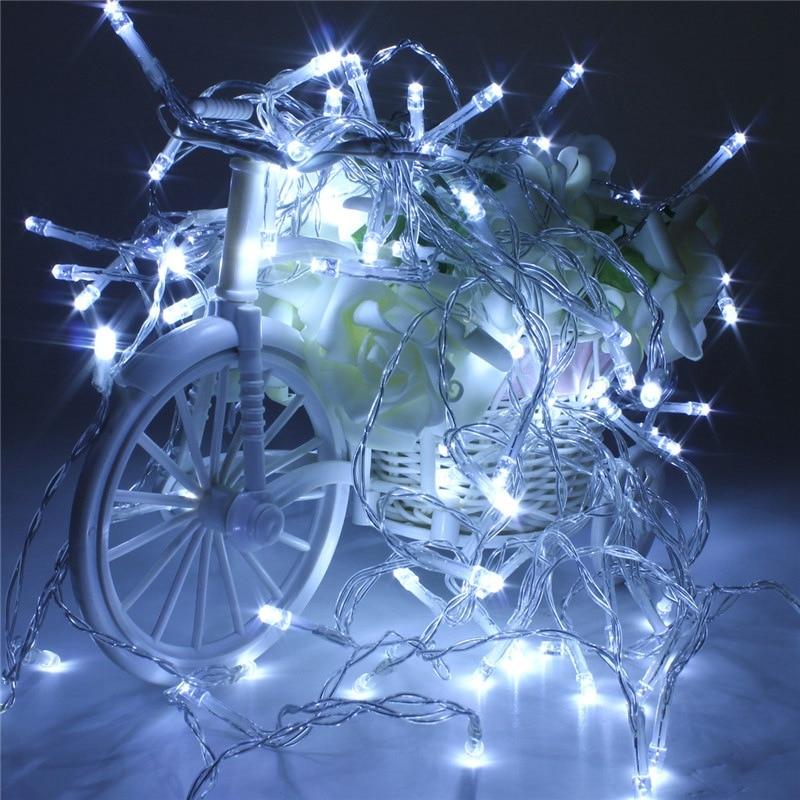 1d0cf358c43 10 m 100 Tiras de luces de LED luces LED de batería de hadas luz Navidad al  aire libre decoración de la boda lámpara luces 4.5 V multicolor