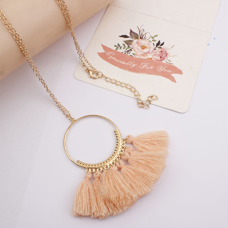 QTWINDY Tassel Necklace Women Long Necklace Boho Punk Necklace Accessories Collor Vintage Bohemian Fringe Necklace Chain 2019 in Pendant Necklaces from Jewelry Accessories