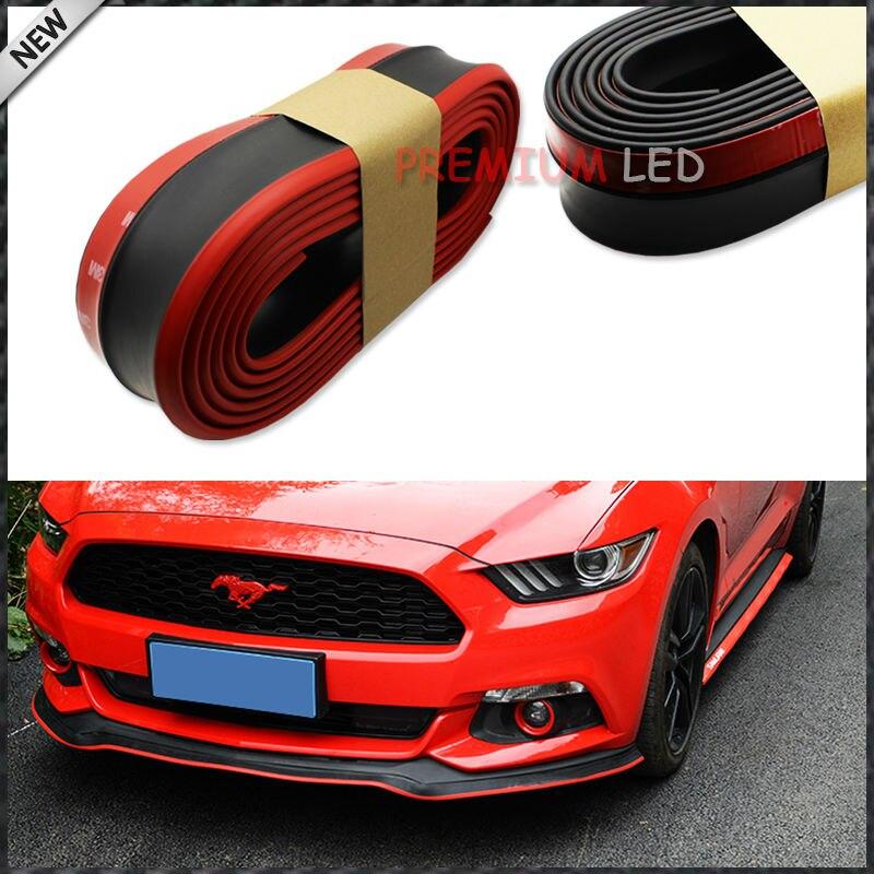 "Universal Front Bumper Lip Chin Splitter Body Spoiler 98/"" Black With Red Trim"