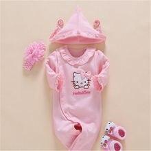 9df20a47a Newborn Hello Kitty bebé Niñas romper + venda de La Flor + cuna Calcetines  + sombrero 4 unids ropa infantil jumpsuit ruffled col.