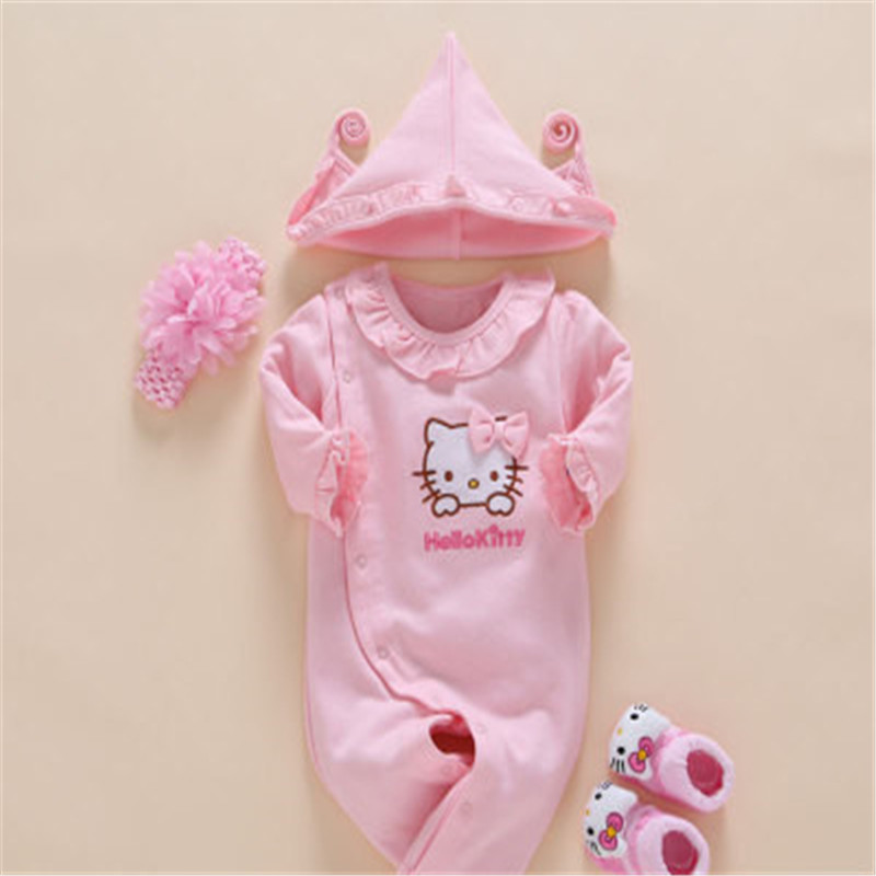 Newborn Hello Kitty Baby Girls Romper+ Flower Headband +Crib Socks+Hat 4PCS Infant Clothes Set Jumpsuit Ruffled Collar Outfit