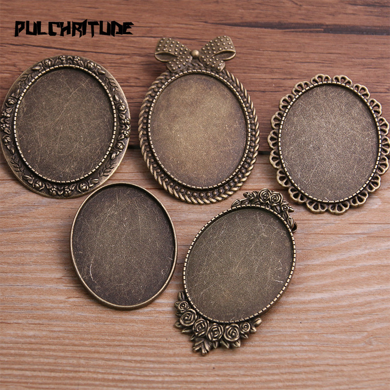 PULCHRITUDE 2pcs 30*40mm Inner Size Antique Bronze Oval Big Brooch 5 Style Cabochon Base Setting Charms Pendant 8E
