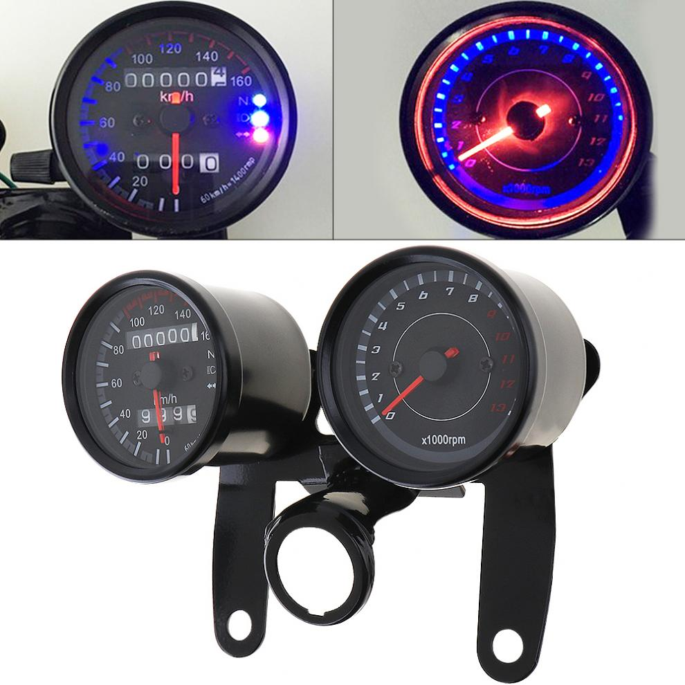 Retro Universal Motorcycle Dual Speedometer Odometer Gauge Scooter LED Indicator Gauge Motobike 1.3 Tachometer With Bracket