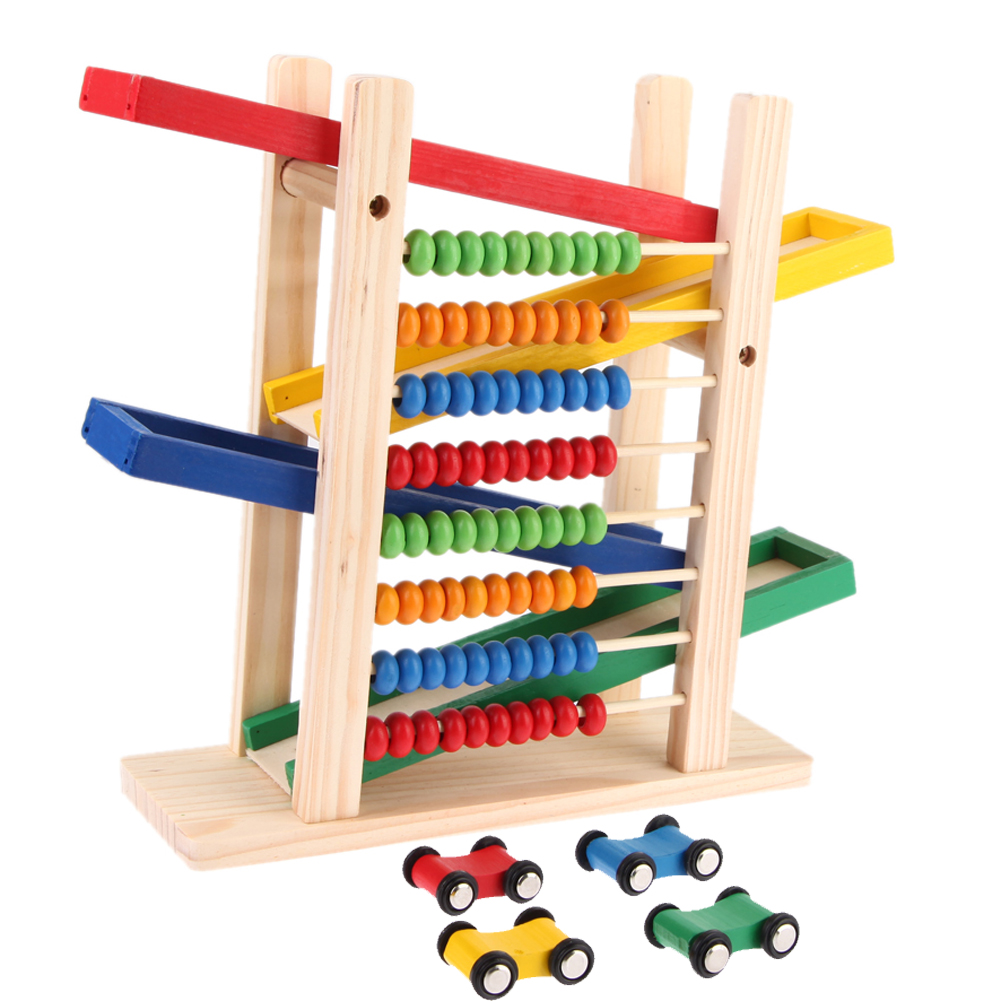 Baby Montessori Educational Wooden Toy Creative Colorful with 4 Toy Cars Teaching Early Learning Toy Abacus Slippery Car Toy