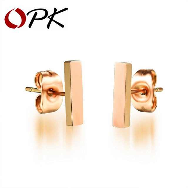 OPK Classical Bar Stud Earrings For Women Rose Gold Color 3 Size