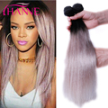 Hanne Light Grey Ombre Hair Extensions 3/4Pcs 1B Grey Straight Human Hair Two Tones Ombre Brazilian Virgin Hair Gray Hair Weave