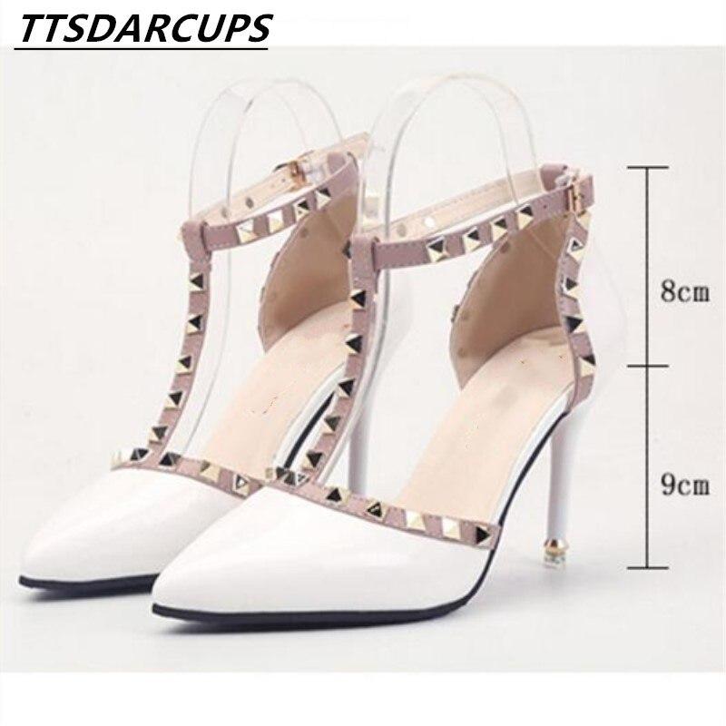 2018 new style Nude color rivet High-heeled women Sandals stiletto heel Patent leather Bandage Hollow Tip Baotou women's shoes denim zipper hollow worn stiletto womens sandals