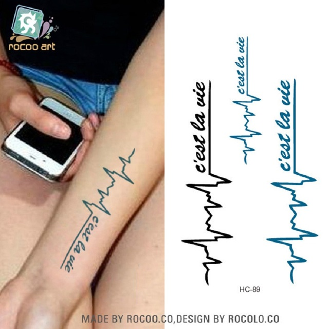 Rushed Men Rui English Waterproof Tattoo Letters Kalong Electrocardiogram Of Male And Female Small Fresh Stickers Hc1089