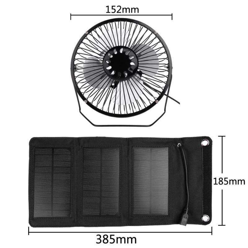 6inch USB Solar Sensor Cooling Fan+5W Folding Solar Panel Bag Mobile Phone Charger for Dog House Greenhouse Chicken House