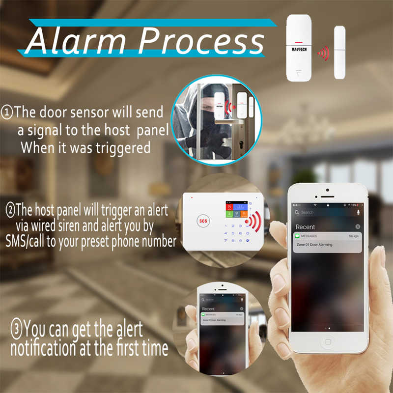DAYTECH GSM WiFi Alarm sistemi otomatik arama hareket algılama yangın duman PIR Siren sensörü ev hırsız kablosuz GSM Alarm sistemi APP