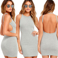 2017 High quality slim temperate fashion bandage dress sexy backless mini summer dress solid casual dress K8251