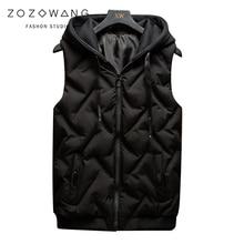ZOZOWANG 2019 new winter Sleeveless Jacket Men Thickening down Cotton Vest Hat Hooded Warm Winter Waistcoat Casual