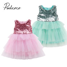 fef194a6b1cf 2018 Brand New Toddler Infant Flower Girl Sequin Princess Dress Kid Baby  Birthday Party Tulle Chiffon Ball Gown Dresses 1-6T