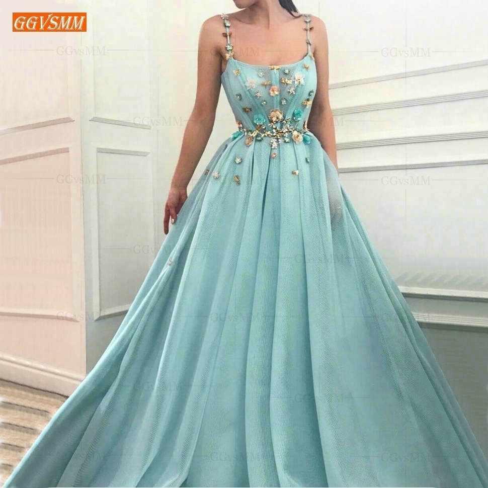 Elegante Tüll Ice Blue Prom Kleider Lange 15 Illusion Ärmel Slim